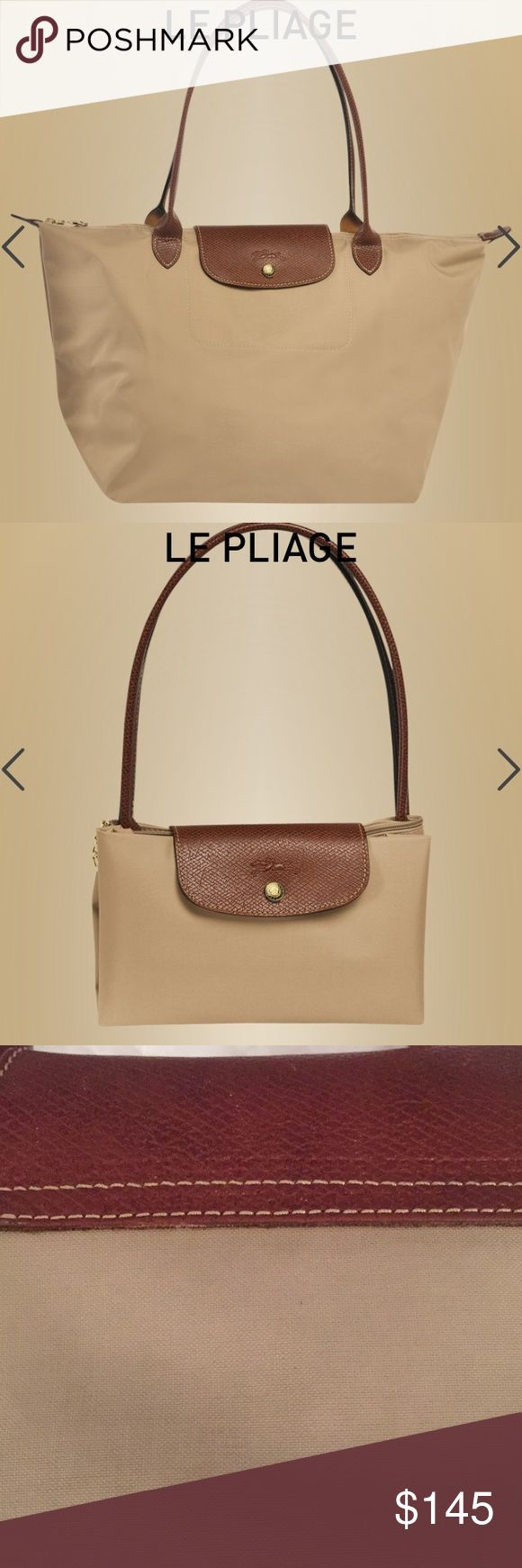 """STAINED Tan nylon Longchamp Les Pliages large tote STAINED Tan nylon large Longchamp Les Pliages """"shopping"""" bag. Modele depose made in France. ‼️‼️‼️LARGE STAINS on outside bag‼️‼️‼️review pics carefully.   Bought in France yrs ago/great neutral color ‼️needs cleaning‼️edges are wearing / tearing EXTERIOR Closing : Zipped & snap closure Compartment : 1 INTERIOR patch pocket : 1 Body : Polyamide canvas with inside coating, Trimming : Cowhide (Brown) To remove dirt, clean the whole lining…"""