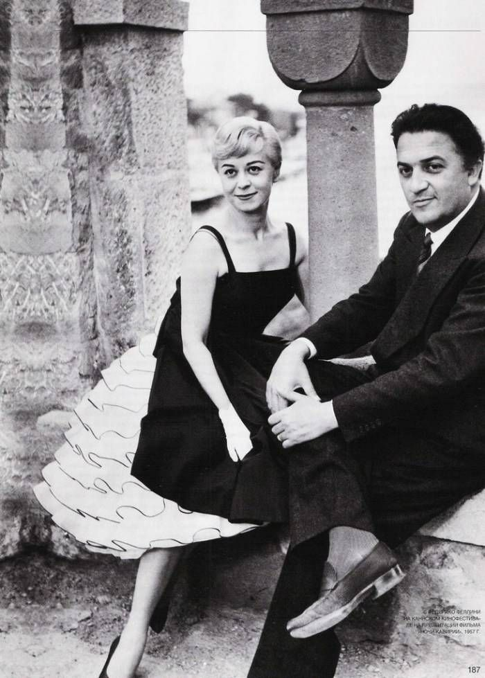 GIULIETTA MASINA AND FEDERICO FELLINI ...i love her dress.
