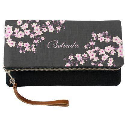 Black Pink Cherry Blossoms Monogram Clutch - accessories accessory gift idea stylish unique custom