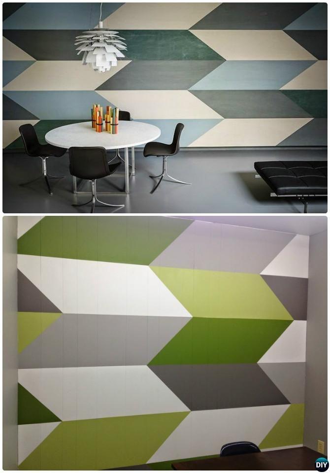 DIY Chevron Geometric Wall Painting Instruction -DIY Wall Painting Ideas Techniques Tutorials