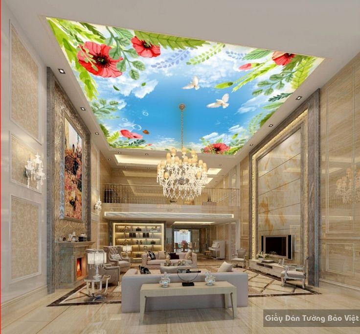 Giấy dán tường 3D đẹp dán trần nhà C025 | Giấy dán tường Bảo Việt