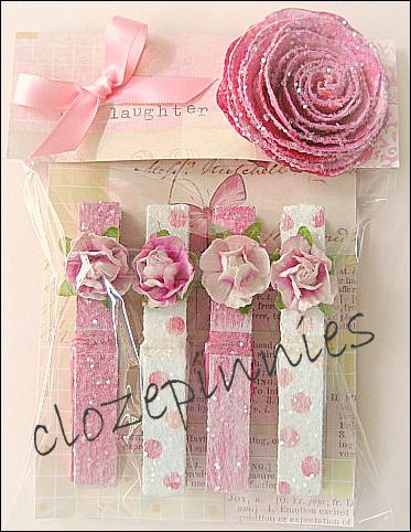"""** Altered Shabby Chic Style Clothespins With Coordinating Packaging """"Clozepinnies""""   @sandilousmusingstoo"""