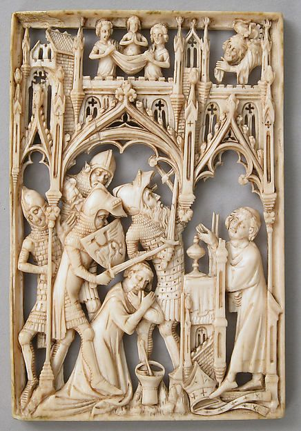 Martyrdom of Thomas à Becket   Date: 1400 (?)  Culture: British (?)  Medium: Ivory  Dimensions: Overall: 3 7/16 x 2 5/16 x 1/4 in. (8.7 x 5.8 x 0.6 cm)  Classification: Ivories