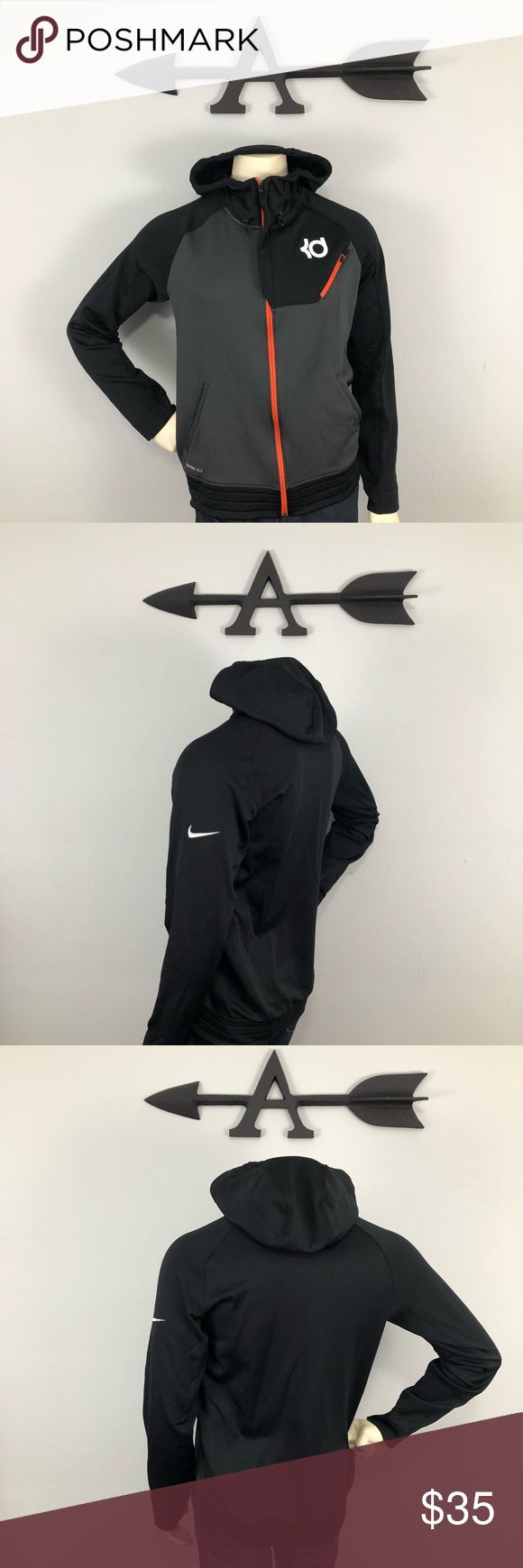 """Nike """"Kevin Durant"""" Hoodie size Medium This hoodie is in great condition. No snags or damage to the fabric and all zippers working properly. KD and Nike Logos are bright white and the cuffs are very clean and undamaged. .Chest 20.5"""", Height 26.5"""". See pictures to verify measurements. Please feel free to ask further questions and all offers will be considered.  ••Posh Ambassador•• ••Bundle 4 Maximum Savings•• Nike Shirts Sweatshirts & Hoodies"""