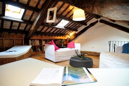 Mezzanine B&B Stop and Sleep Udine Fagagna On The Hills #livingroom #art #decor #home #design #interior #italy #travel #relax #attic #beamed #ceiling #friuli