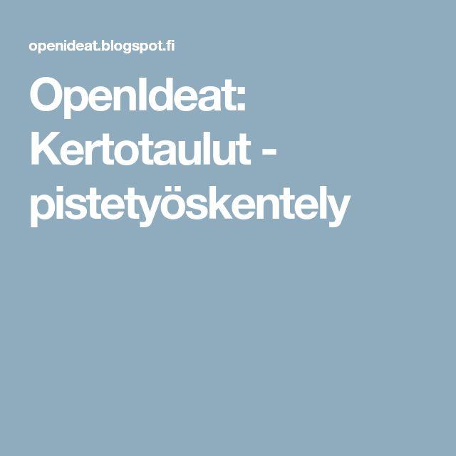 OpenIdeat: Kertotaulut - pistetyöskentely