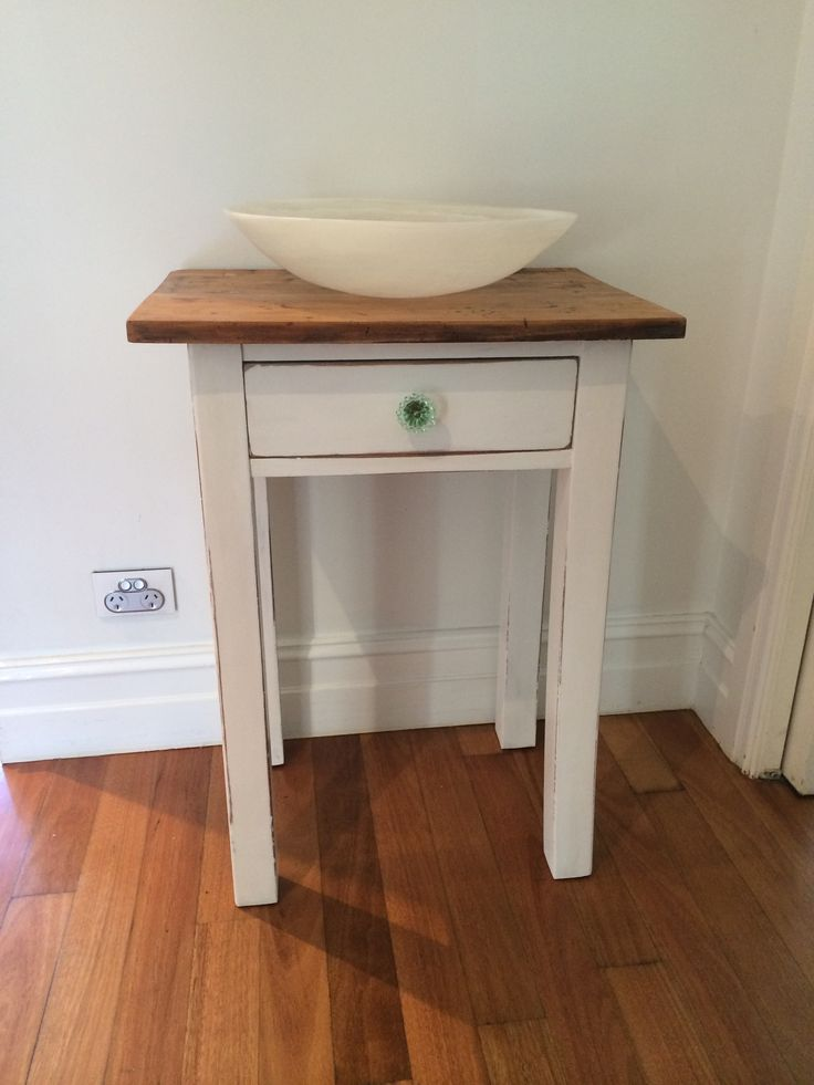 Old table brought back to life with chalk paint, wax and mint green glass knob. SOLD