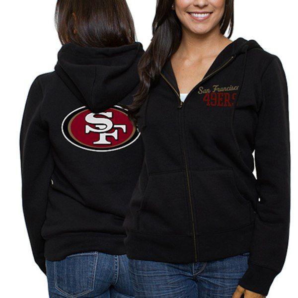 2e4ff603 San Francisco 49ers Ladies Game Day Full Zip Hoodie - Black ...