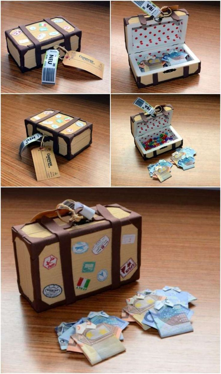 Geld Hemden falten und in einen Mini-Koffer legen