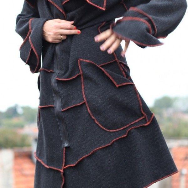 Obłędny wełniany płaszcz u1