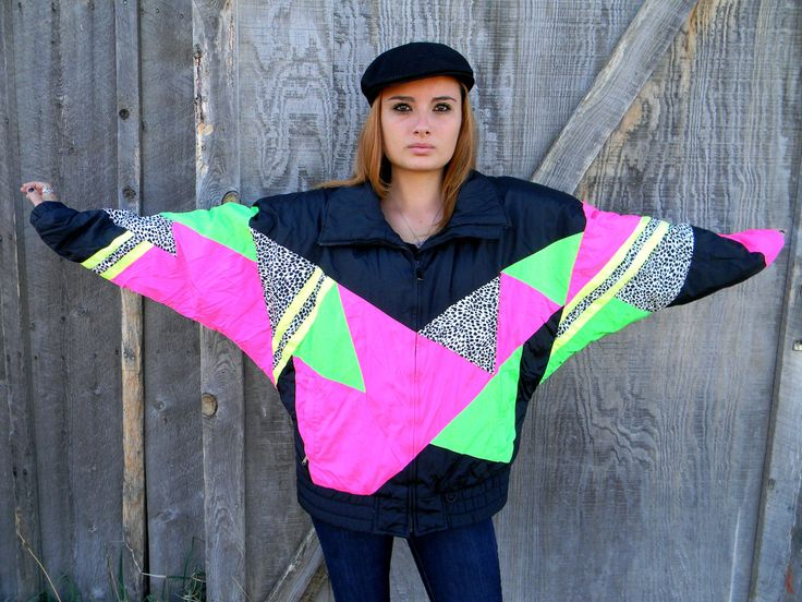 Vintage 80s/90s HOT NEON Pink/Green/Yellow/Black/White Puffer Ski/Snow Jacket Winter Coat w/ Leopard Print Patches XL Plus Size. $58.00, via Etsy.