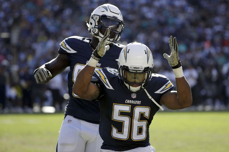 Dolphins vs. Chargers:  31-24, Dolphins  -  November 13, 2016  -   Korey Toomer celebrates after a tackle against the Miami Dolphins during the first half of an NFL football game in San Diego, Sunday, Nov. 13, 2016. (AP Photo/Gregory Bull) AP, GREGORY BULL
