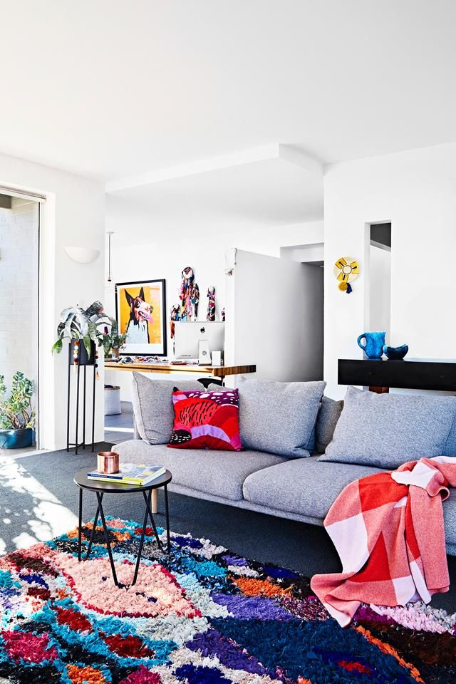 Living room from a colourful and eclectic mid-century home in Beaumaris, Victoria. Photography: Mike Barker | Styling: Paige Anderson