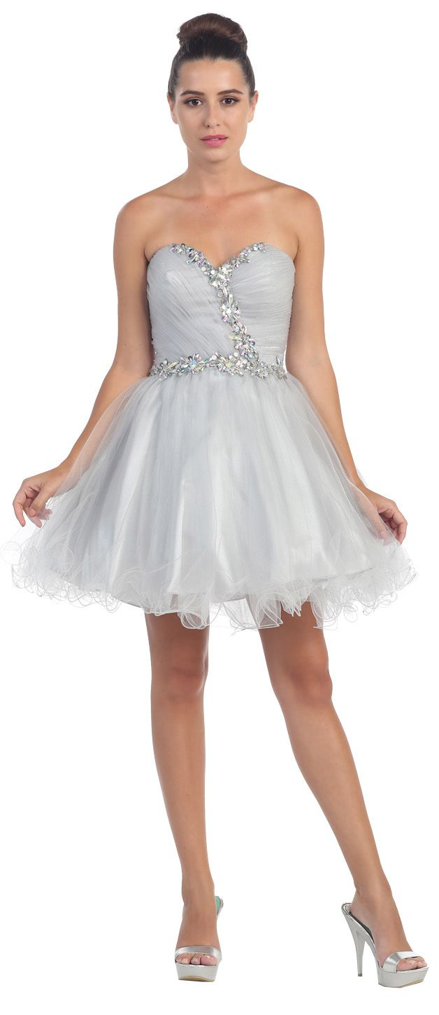 Poofy Short Homecoming Dress Silver Tulle Strapless
