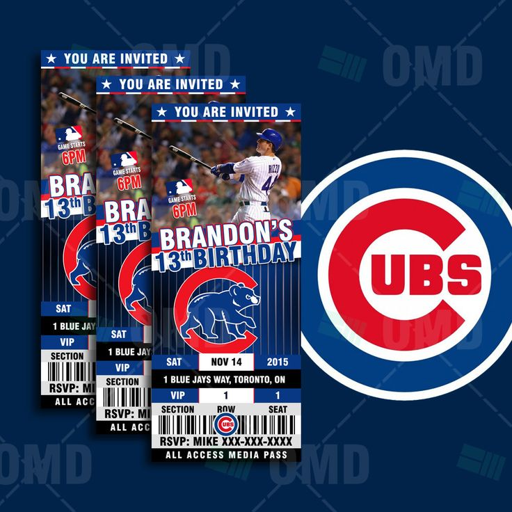 2.5x6 Chicago Cubs Sports Party Invitation, Sports Tickets Invites, Cubs Baseball Birthday Theme Party Template by sportsinvites