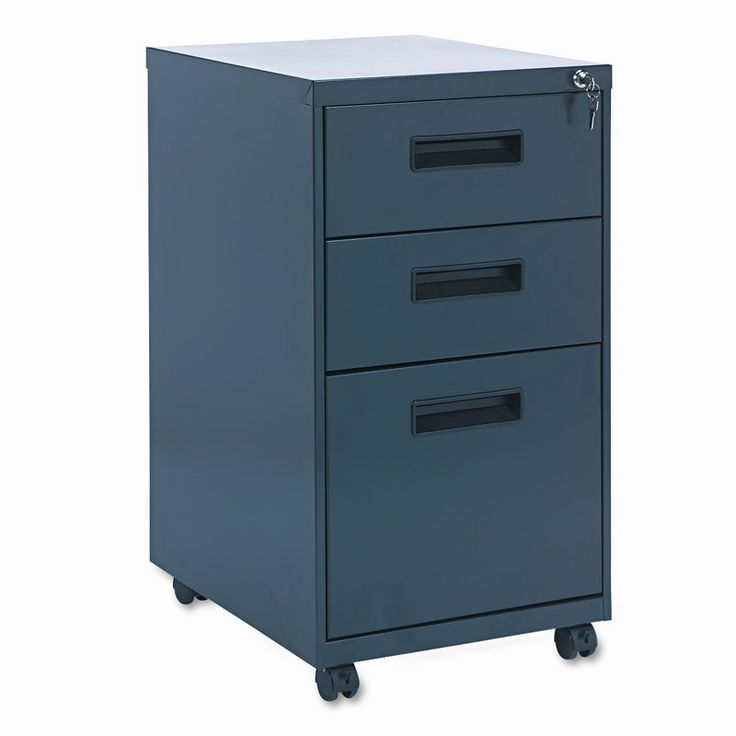 Alera Mobile Pedestal File Cabinet with Visible Casters-3 Drawers Charcoal - ALEPABBFCH