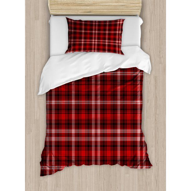 Plaid Duvet Cover Set Nostalgic Striped Pattern From British Country With Constrasting Colors Decorative Bedding Set With Pillow Shams Scarlet Black White B Duvet Cover Sets Bed Decor Duvet Covers