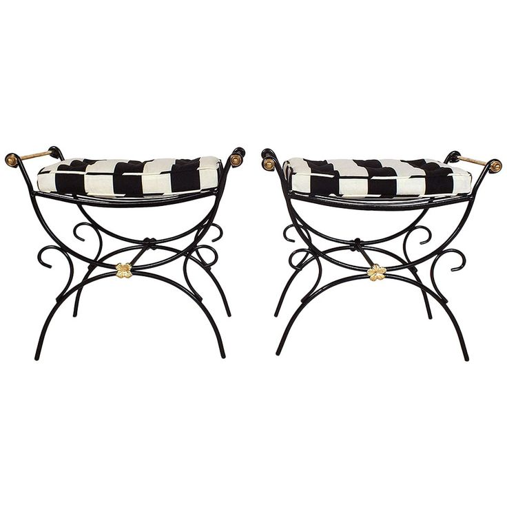 Mid-20th Century Wrought Iron Regency-Style Benches | 1stdibs.com