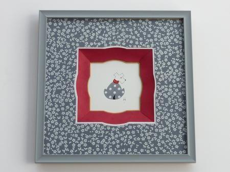 """Cadre """"chien"""" réalisé avec le papier à fleurs PAPERTREE SAKURA Gris (PT53124)"""
