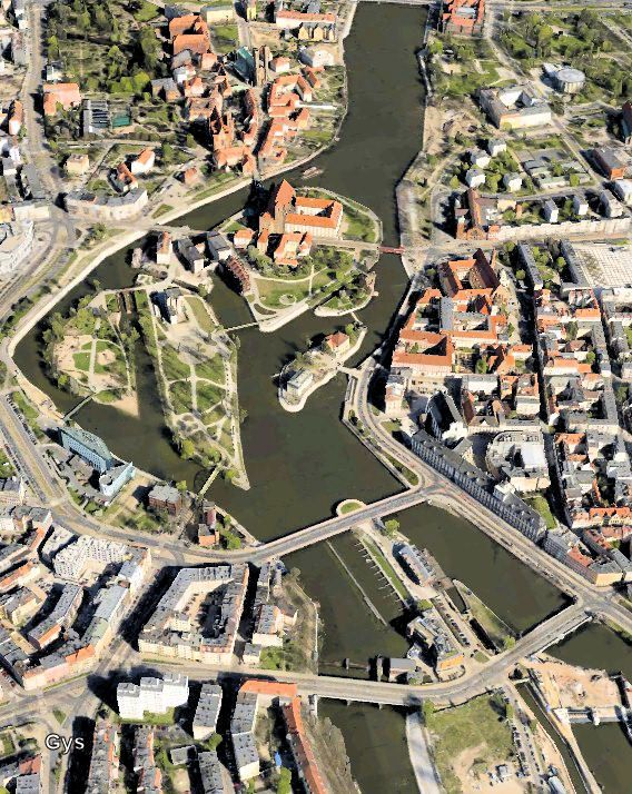Aerial view of Wroclaw, the Polish Venice
