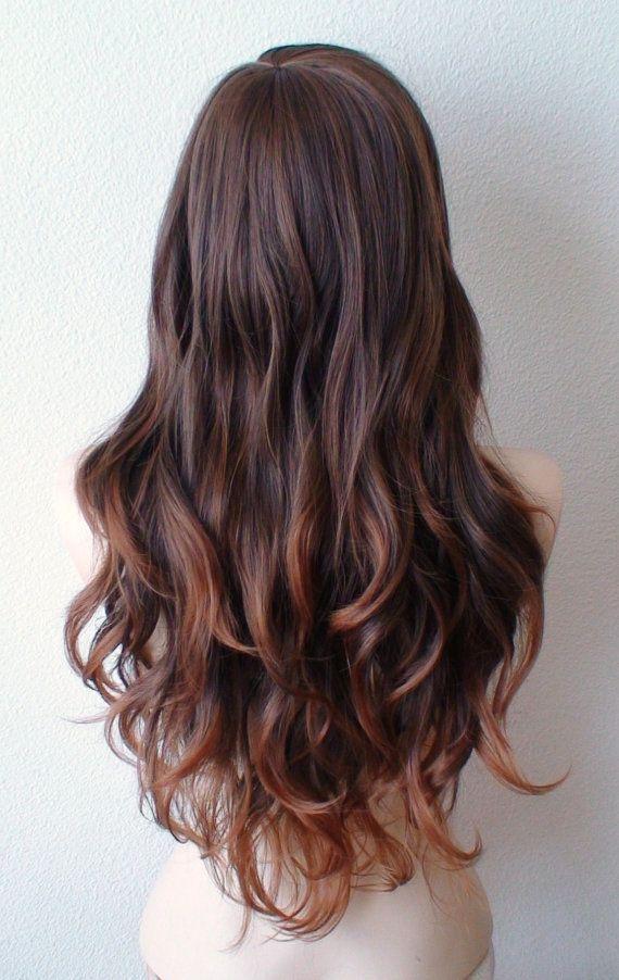 Brown / Auburn wig. Long volume layered curly hair by kekeshop