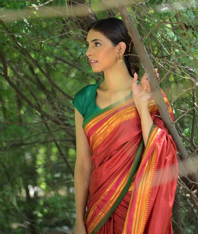 Buy Glorious Heritage Curated by Jaypore Silk Narayanpet sarees with zari borders Online at Jaypore.com