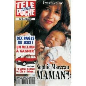 Sophie Marceau maman : Vincent est né, dans Télé Poche n°1540 du 14/08/1995  [couverture et article mis en vente par Presse-Mémoire]