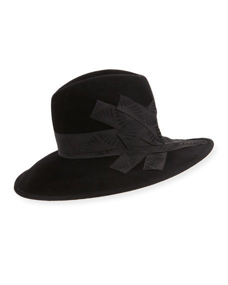 PHILIP TREACY GANGSTER TRILBY HAT W/BAND, BLACK. #philiptreacy #