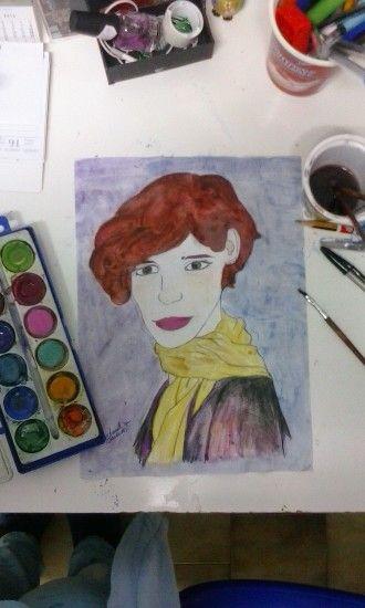 Eddie Redmayne as Einar Wegener/Lili Elbe in The danish girl (watercolor portrait)