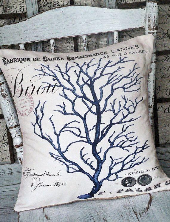 Pillow Cover Blue Coral Beach Decor Coral pillows, Decor and Throw pillows