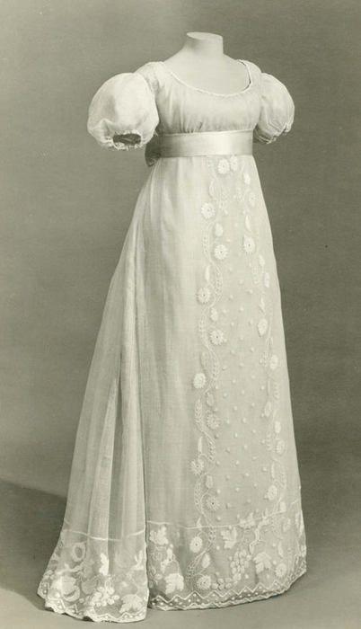 1810 embroidered muslin gown; British