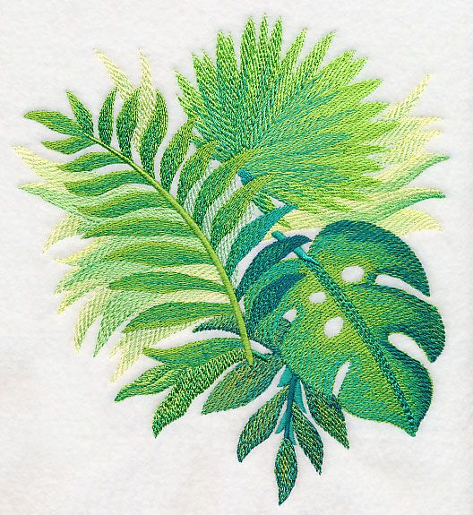 Tropical Leaves in Watercolor 3 design (M4046) from www.Emblibrary.com