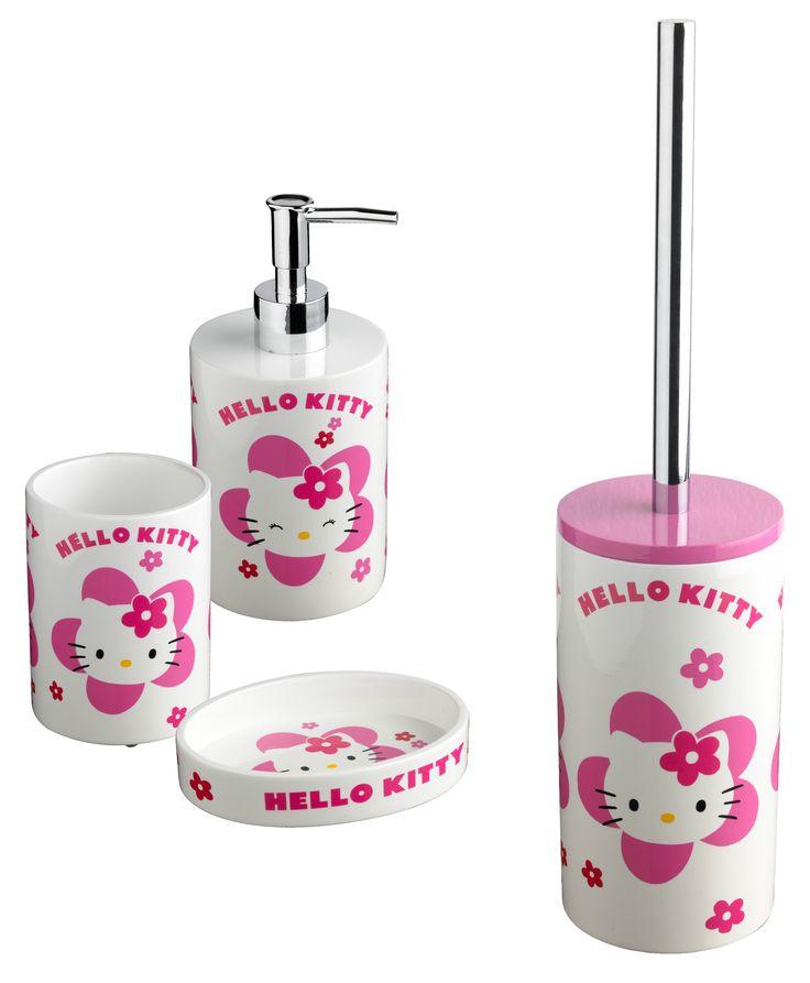 #Accessori #Bagno #Cipì #Hellokitty Flower set completo, sono inclusi: Bicchiere, Dispenser, Porta sapone e scopino.