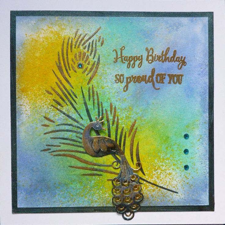 'Proud as a Peacock' card - Imagination Craft's - Mixed Media Spray inks.  Shake & Gilt Gold Spray.  Starlight paints.Cobalt Alchemy Wax.  Peacock feather stencil.  Detail gold embossing powder.  Magi-bond glue.  Large stencil Brush.  Versamark pad.   Peacock die & sentiment stamp free with Simply Cards & Papercraft Magazine.   July 2017.   Designed by Jennifer Johnston.