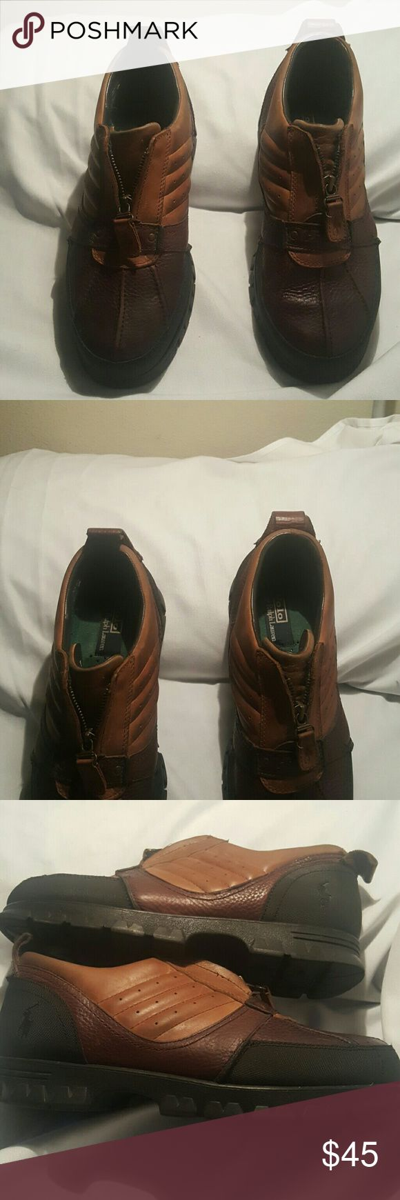 Ralph Lauren Tan & Brown  Leather shoes Like new. Zip up front. Polo by Ralph Lauren Shoes Boat Shoes