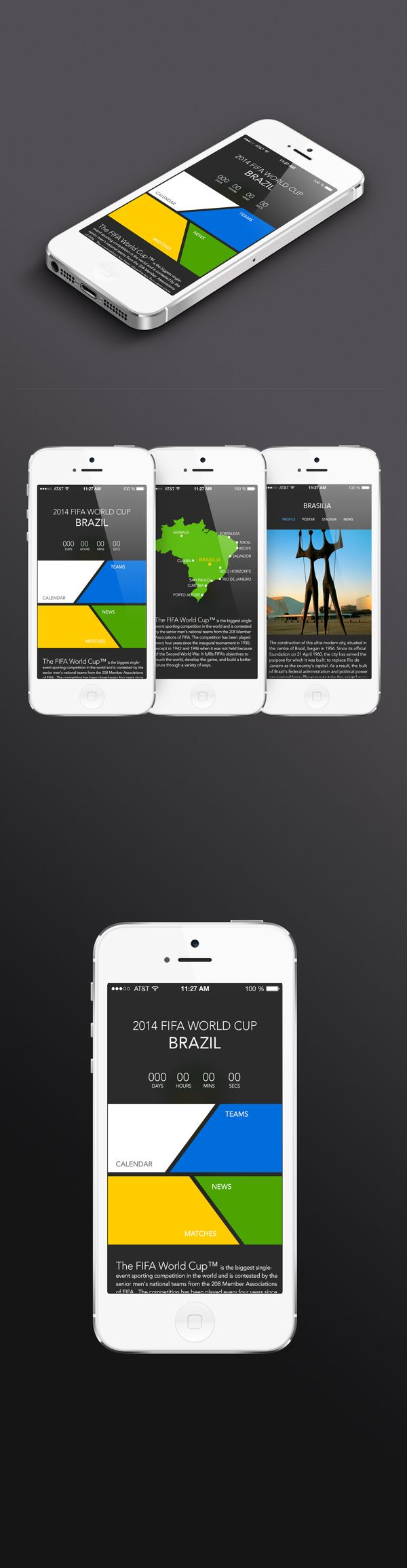 2014 Brazil world cup app UI (Concept design) by Hyelim Choi, via Behance