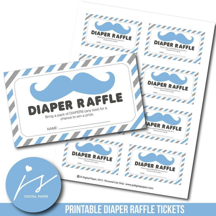 Blue And Grey Printable Diaper Raffle Tickets With