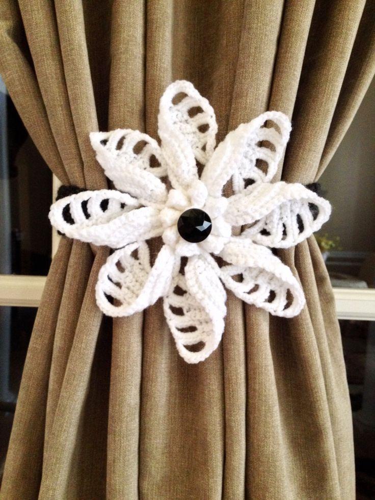 Crochet Curtain Tiebacks - white flower (1 pair) by JinesCrafts on Etsy