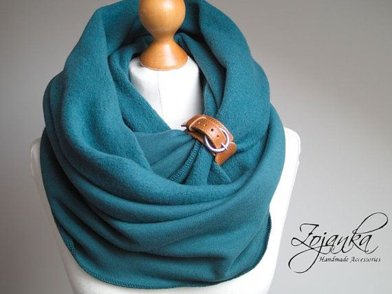Infinity Scarf with leather cuff tube scarf with cuff  by Zojanka