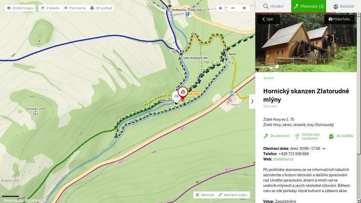 Mapa Hornický skanzen Zlatorudné mlýny (Skanzen) – detailní mapa okolí (základní, turistická, satelitní, panoramatická, atd.), plánování trasy, GPS a mnoho dalšího na mapy.cz.