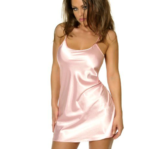 Women's Pink Satin Pajamas Chemise