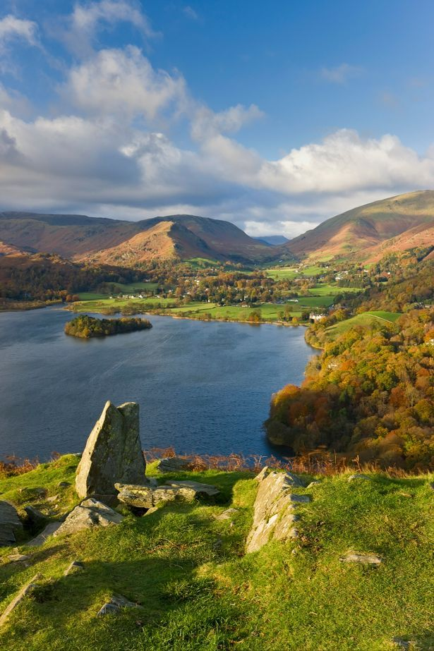 England, Cumbria, Lake District, Grasmere Lake and village from Loughrigg Fell