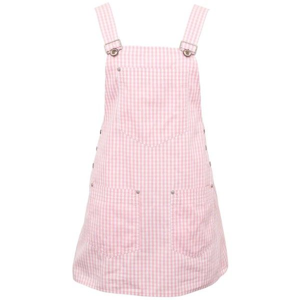 Versace Jeans Couture Pink Plaid Overall Dress with Medusas ($550) ❤ liked on Polyvore featuring dresses, skirts, versace, pink dress, versace jeans couture, plaid dress, pink day dress and tartan dress