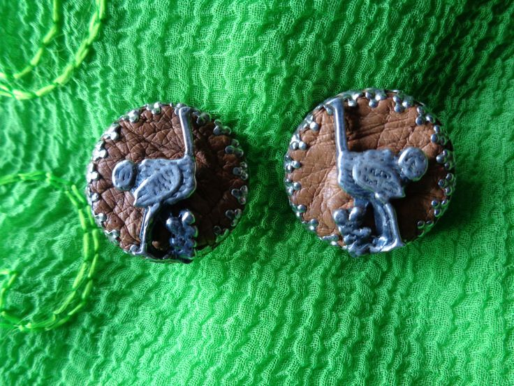 Vintage Clip on Earrings Ostrich South Africa - NOW ON SALE by AllYouCanVintage on Etsy