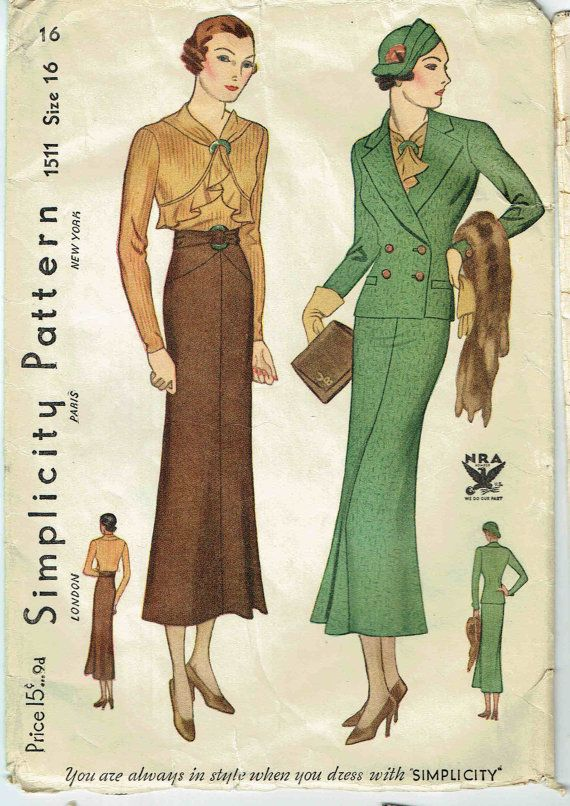 Simplicity 1511 | 1930s Blouse and Suit
