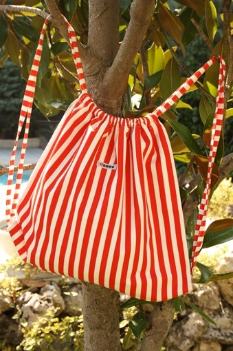 Red and White stripes  Backpack by onnaBandA on Etsy, €30.00