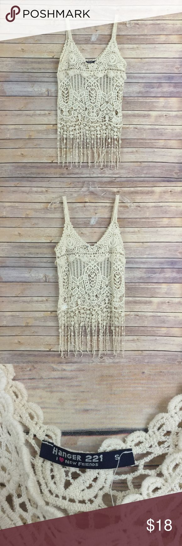 "Cute boho fringe crochet tank top, size Small This super cute cream, boho crochet fringe tank top is a size small and perfect for upcoming Spring music festivals! It measures 16"" flat across the bust and is 31"" long.  In good condition Hanger221 Tops Tank Tops"