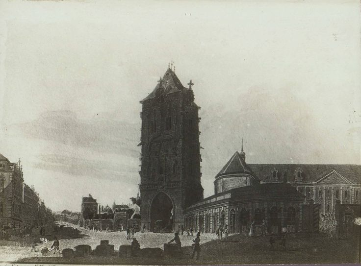 Powder Tower and its surroundings engraving by Vincent Morstadt (1820) in Prague, Czech Republic