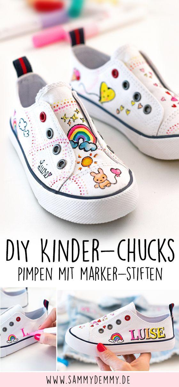 Kleidung bemalen mit Markern: Jeansjacke und Chucks für Kinder