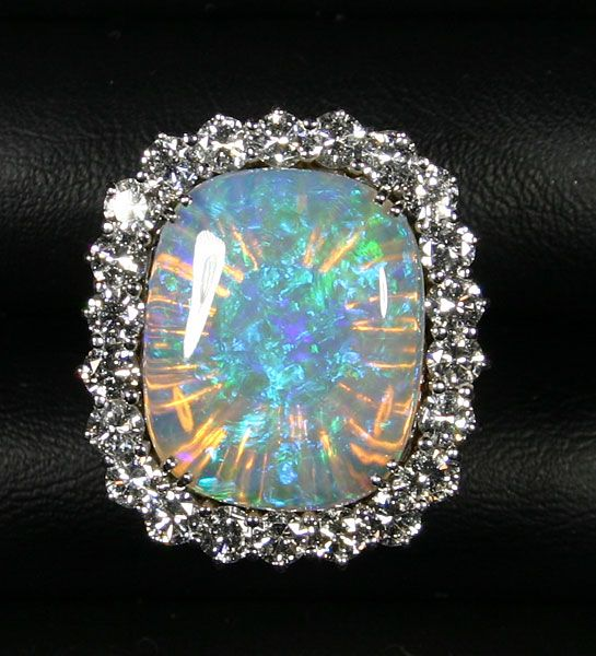 Magnificent Australian Opal, Cushion Cabochon with a Large Diamond Halo, White…